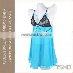 Oem good quality fashion cotton hot sexy blue lace young girls lingerie