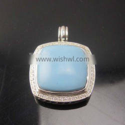 Silver Jewelry 20mm Albion Enhancer with Turquoise and Diamonds(P-063)