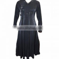 Black Color Lycra Fabric With Black Diamond Stone Work Burkha / Casual Occasion Party Wear Abaya / Office Work Wear Clothing