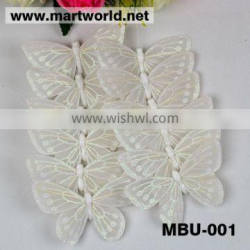 Wholesale white feather butterflies for wedding decoration;Delicate white feather butterfly garland for event&party(MBU-001)