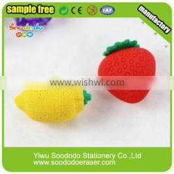 Rubber 3D pencil erasers lemon and strawberry shaped eraser