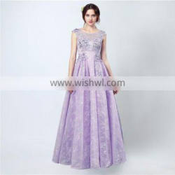 Custom Made High Quality Sweet Purple Scoop Floor Length Lace Lace-up Appliqued Formal Sleeveless Evening Dresses