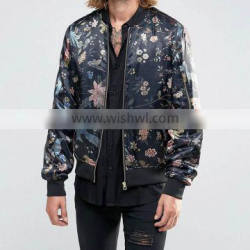 Cheapest Customized Slim Fit Fancy 100% Polyester Floral Sublimation Printing Mens Jackets 2016