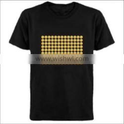 el sound t-shirt el light up and down t shirt with 4pcs AAA battery inverter