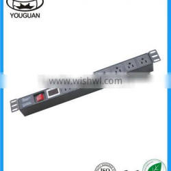 19''US type 7 ways PDU Socket with switch and Current voltmeter show control