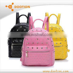 2015 latest girls leather backpack bags with rivet
