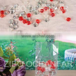 Transparent flat glass gems,red acrylic beads,gift