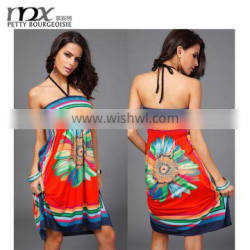 Ladies fashion dresses with pictures of printed spaghetti strap african dresses for women
