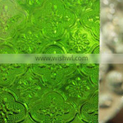 5mm Green flora rolled glass