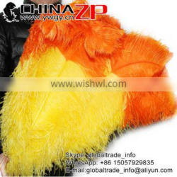 CHINAZP Factory Wholesale Cheap Colored Yellow with Orange Tip Ostrich Feathers for Centerpiece Decorations