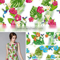 Printed Polyester &Cotton Floral Design Fabric For Women Dress