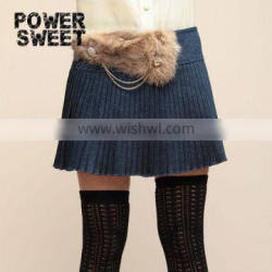 2013 ladies rabit fur chain ornament pleated mini A-line skirt