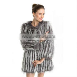 QD70704 Winter Women Featured Knitted Natural Chinese Fox Fur Clothes with Double Color