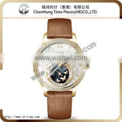 Geneva big face quartz promotional wrist girls hand chain watch chinese pretty dial stainless steel case watch