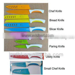 Coloured non-stick kitchen knife with safety knife sheath