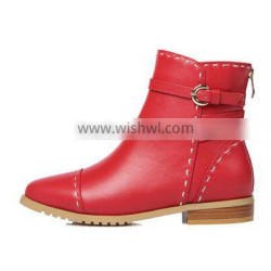 Winter Fashion Red Colour Genuine Leather /PU Upper Material Woman Shoes Low Heel 3cm Ankle Chelsea Boots
