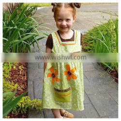 joyous and bright yellow thanksgiving Toddler/kids sunflower print Smock dress