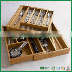 Low price adjustbale bamboo kitchen tool organizer