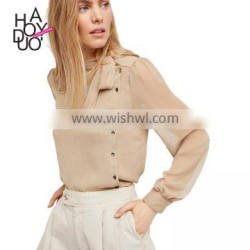 HAODUOYI Fashion Light Kahaki Women Blouse Neckline Lace-up Side Buttons Semi-sheer Lantern Sleeve Lady Tops for Wholesale