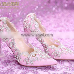 OW22 Beautiful Diamond Crystal decor Evening High-heeled Party wear dress Shoes for women