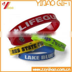 Manufacture Silicone bracelet with metal Button/Produce opening style silicone rubber wristband with metal accessories