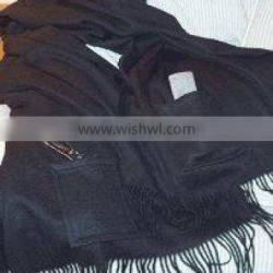 Black Color Cashmere Shawl with Pocket