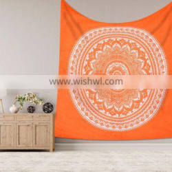 """Indian Wall Hanging Hippie Ombre Mandala Orange Tapestry Bohemian Bedspread Wall Decor 95""""X85"""" Inch"""