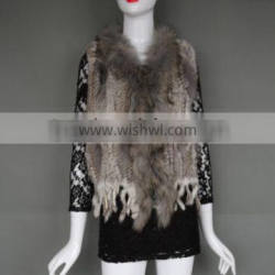 Women real rabbit fur knit vest with racoon fur trimming