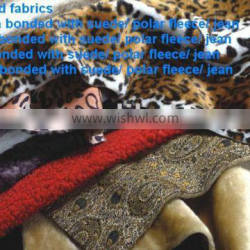 bended faux fur fabric with suede fabric