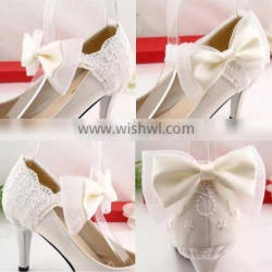 Fashionable Lace and Bow Tie For Shoe Heel Shoes Ornament With Metal Clip Shoe Charms