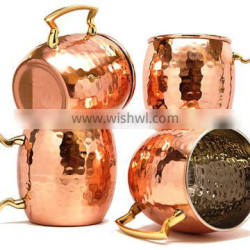 Set of 4 Hammered Copper Beer Mug with Brass Handle and Nickel Lined, Moscow Mule Copper Beer Mugs