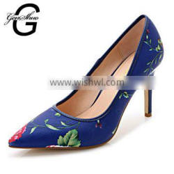 2016 High Heels Brand Leather Women Pumps Pointed Toe High Heels Shoes Floral Print High Heels Pointed Shoes Quality Choice