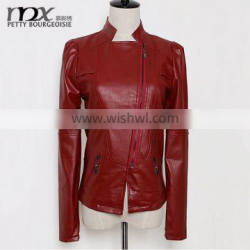 2015 Washed Women PU Leather Jacket