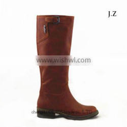 LQEB23 brown upper women winter collection knee high boots wholesale rubber sole boots factory