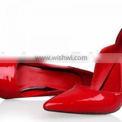 OP11 patent leather material upper hot sale pointy toe fashion pump shoes 2015 new collection
