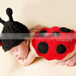 Cute Small ladybug Baby Crochet Knit Costume Photography Props