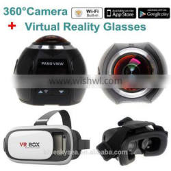 360 Camera 4k Wifi Panoramic Camera 2448*2448 HD 360 Degree+ VR Glasses VR Box
