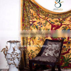 Yellow Color Tree of Life Single Root Print Double Indian cotton tapestries 92x82 Tapestry