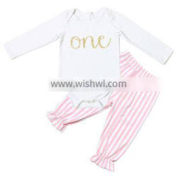 online sales infants baby autumn soft cotton sets 2 pieces white top and pink stripe ruffle pants outfits for 0-24months baby