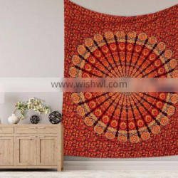 """Indian Latest Maroon With Orange Color Bedsheet Queen Size Bedspread Tapestry Wall Hanging 95""""X85"""" Inch Mandala Design"""