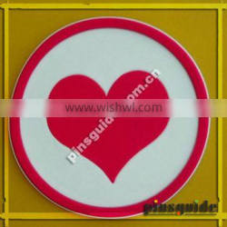 China Manufacturer Wedding Souvenirs ATBC-PVC Heatproof Coaster Printed Heart Shape