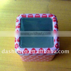 square biscuit tin with clear window