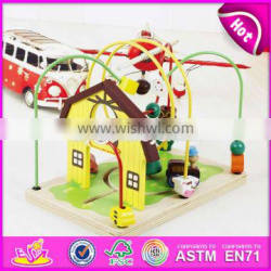 new design bead maze wooden kids roller coaster toy for education W11B141-S