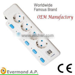3-6 Ways 16A 220V-250V European Type Extension Socket