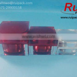 15/30/50/75g square acrylic jars with red/silver liner, clear acrylic cosmetic containers, acrylic box/can