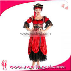 Sexy red Black Pirate carribian Cosplay Halloween Adult Costume Pirate Fancy Dress wholesale