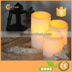 Carving led candle light with pearl surface LED Candle Light Pillar Candle Light
