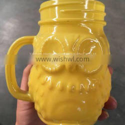 Manufacturer of spray owl glass,Owl hand cup,Custom glass bottles
