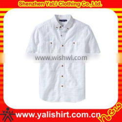 OEM high quality comfortable blank cotton two pocket white short sleeves pictures of shirts dress for men