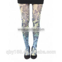 dye sublimation tattoo printed pantyhose seamless tights